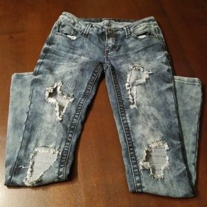 Almost famous distressed faded wash skinny jeans